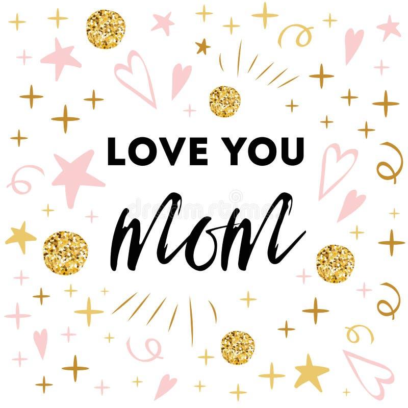 Bannière de salutation de vecteur de jour de mères Amour des textes vous maman Copie tirée par la main abstraite romantique de ca illustration stock