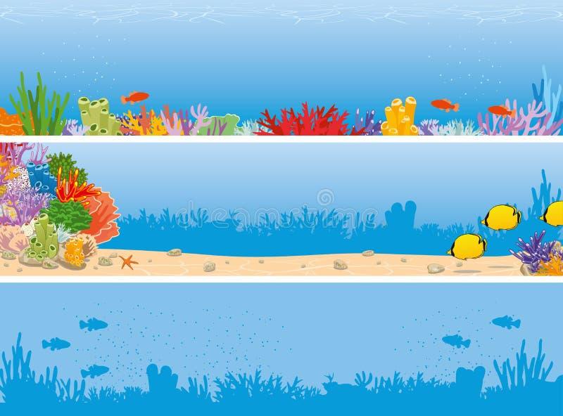Bannière de scène de récif de mer illustration libre de droits
