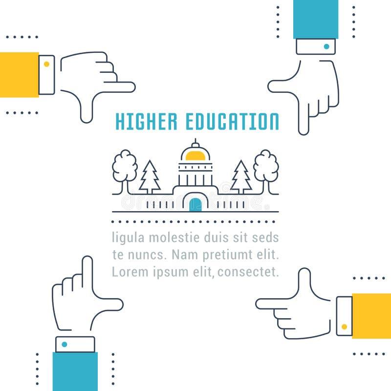 Bannière de site Web et enseignement supérieur de page d'atterrissage illustration libre de droits