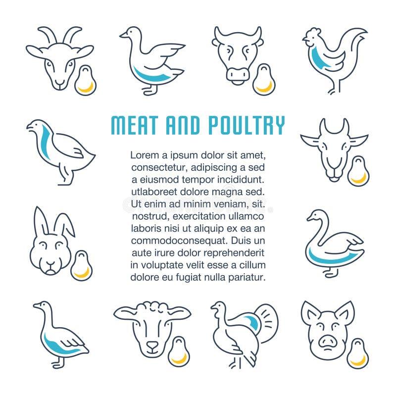 Bannière de site Web et page d'atterrissage de viande et de volaille illustration de vecteur