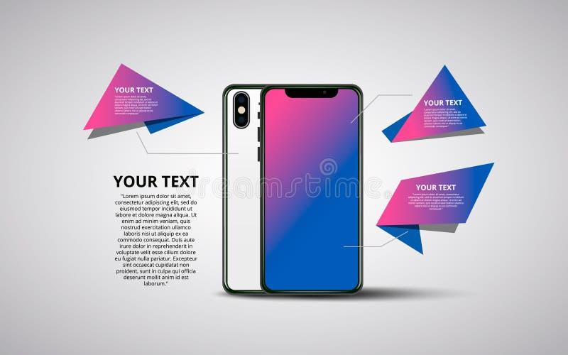 Bannière de Smartphone Illustration plate de vecteur de Minimalistic de téléphone portable Smartphone générique de maquette illustration de vecteur