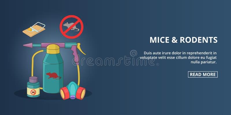 Bannière de souris et de rongeurs horizontale, style de bande dessinée illustration stock