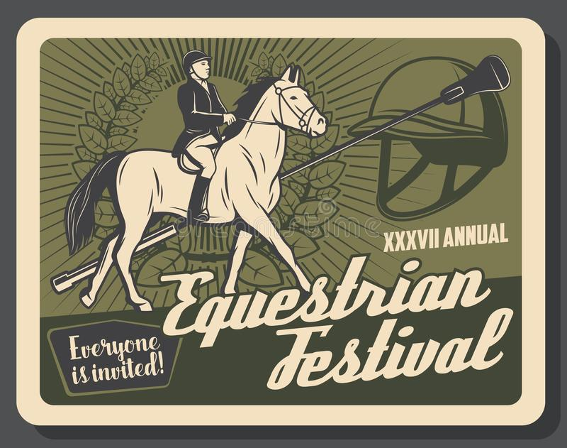 Bannière de sport d'équitation rétro avec le cavalier illustration stock