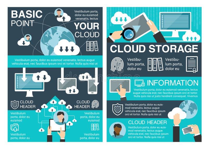 Bannière de stockage de nuage pour la technologie de l'information illustration libre de droits