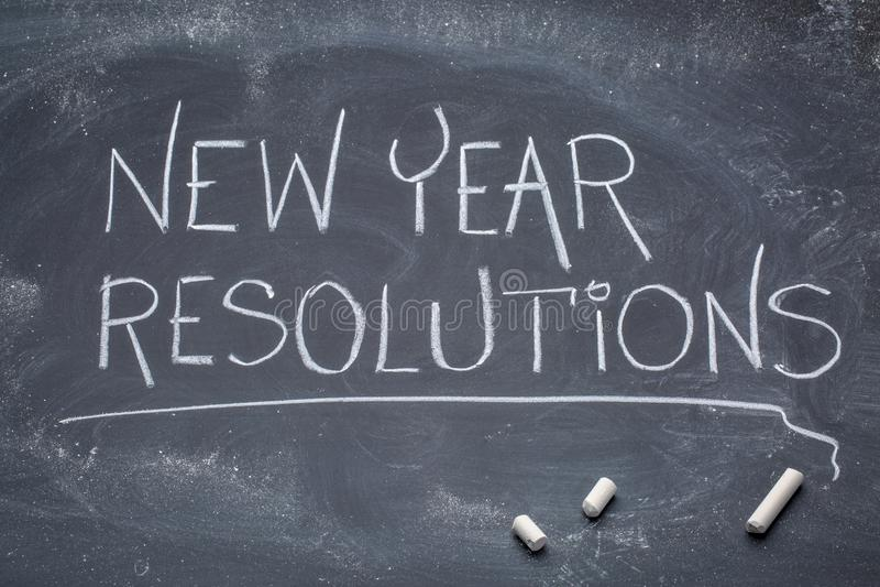 Bannière de tableau noir de résolutions de nouvelle année photo libre de droits