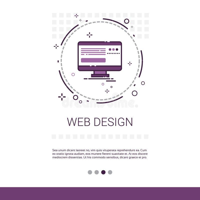 Bannière de technologie de dispositif de programmation par ordinateur de développement de logiciel de web design avec l'espace de illustration de vecteur