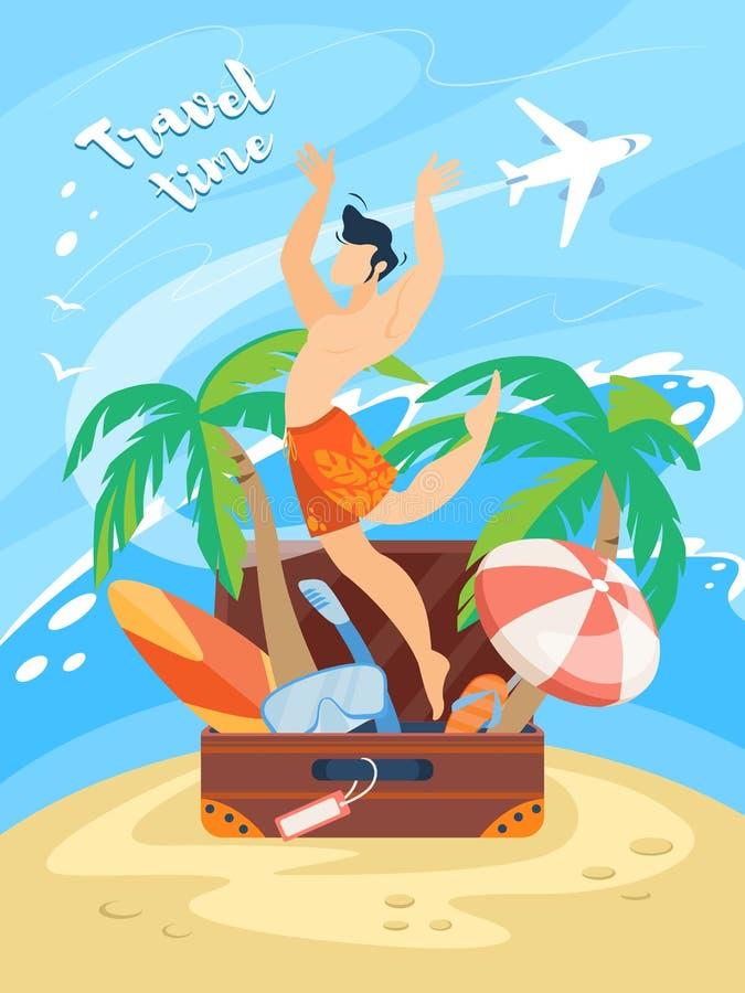 Bannière de temps de déplacement, homme heureux dans des shorts de natation illustration stock