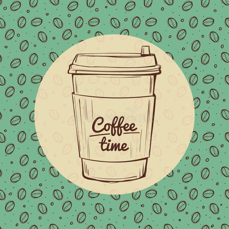 Bannière de temps de café, fond rôti de haricots tiré par la main illustration stock