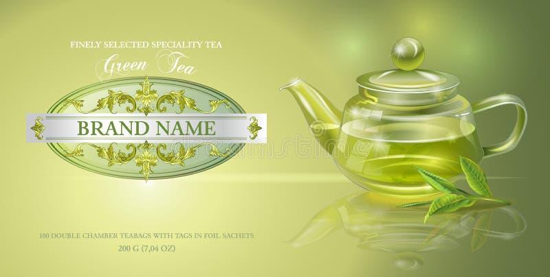 Bannière de thé vert illustration stock
