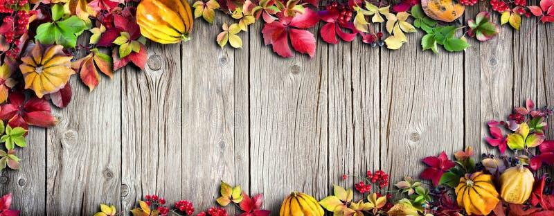 Bannière de thanksgiving - feuilles automnales colorées photographie stock libre de droits
