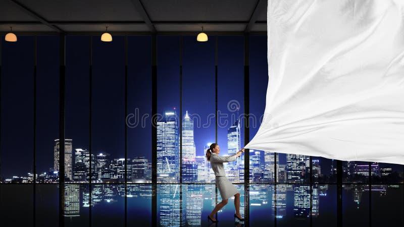 Download Bannière De Tissu De Traction De Femme D'affaires Image stock - Image du déterminé, place: 56481089