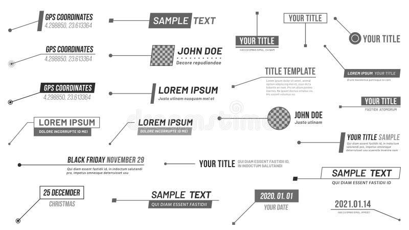 Bannière de titres de légendes Labels des informations numériques, label de barre de légende et troisième vecteur inférieur minim illustration stock
