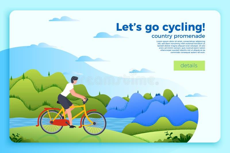 Bannière de tour de bicyclette de vecteur avec l'homme sur un vélo illustration libre de droits