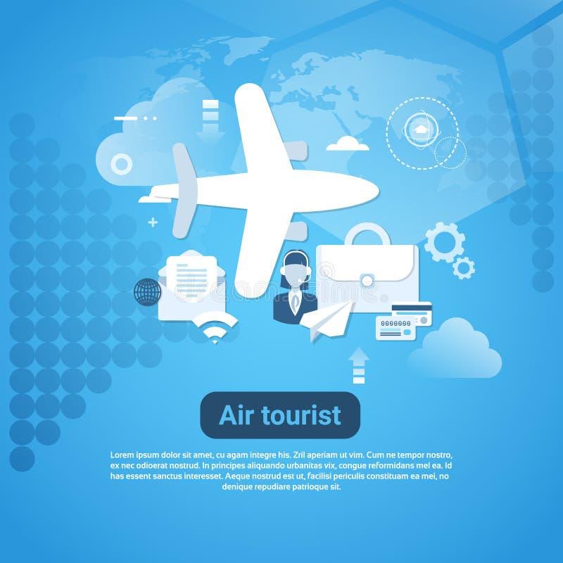 Bannière de touristes de Web d'air avec l'espace de copie sur le concept bleu de tourisme de fond illustration stock