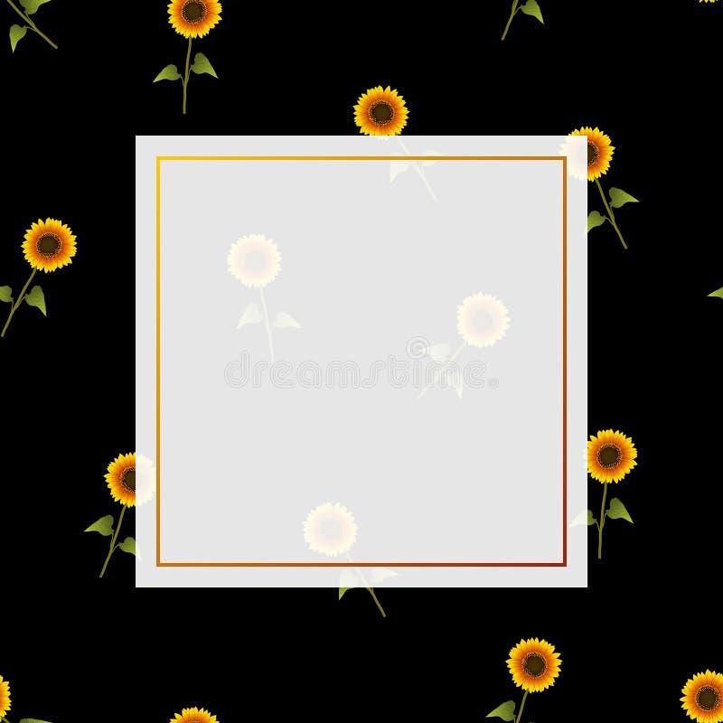 Bannière de tournesol sur le fond noir image libre de droits