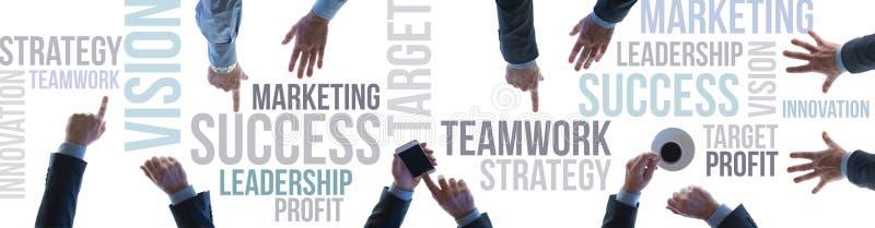 Bannière de travail d'équipe et de succès d'affaires image stock