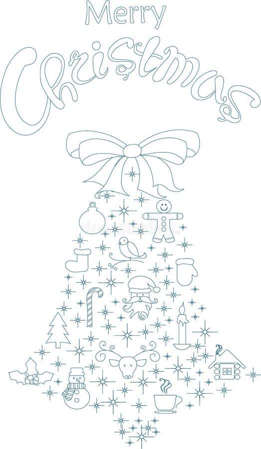 Bannière de typographie avec le dessin bleu stylisé de cloche et de main marquant avec des lettres le Joyeux Noël sur le blanc illustration de vecteur