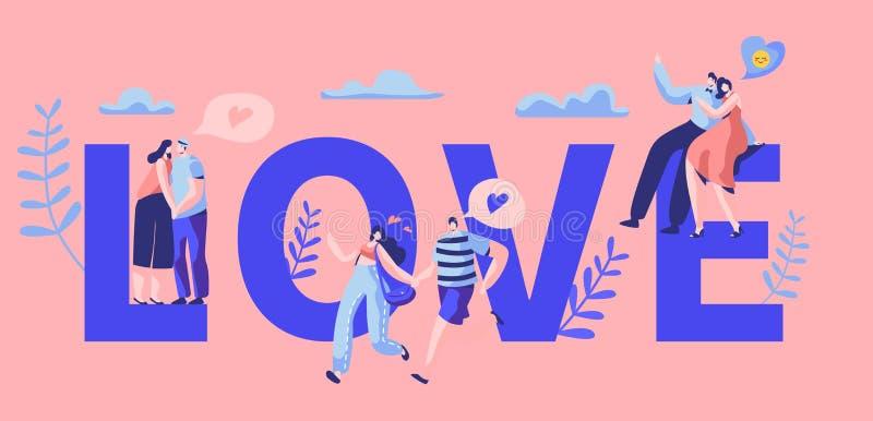 Bannière de typographie de motivation de caractère de couples de Love Story Étreinte heureuse d'amant, baiser sur le banc Flirt r illustration stock
