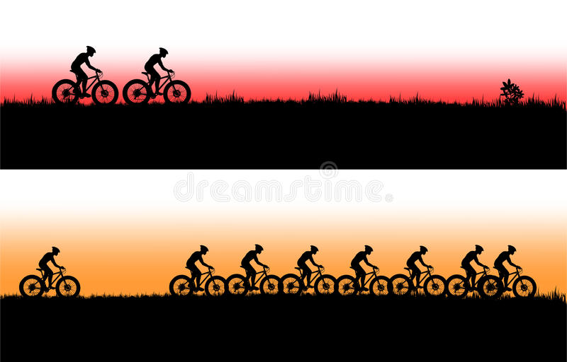 Bannière de vélo de montagne illustration de vecteur