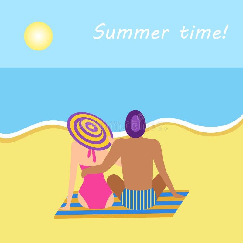 Bannière de vacances d'heure d'été avec étreindre de personnes illustration libre de droits