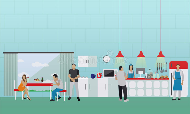 Bannière de vecteur avec l'intérieur de cuisine Les gens prenant le déjeuner en café de bureau illustration stock