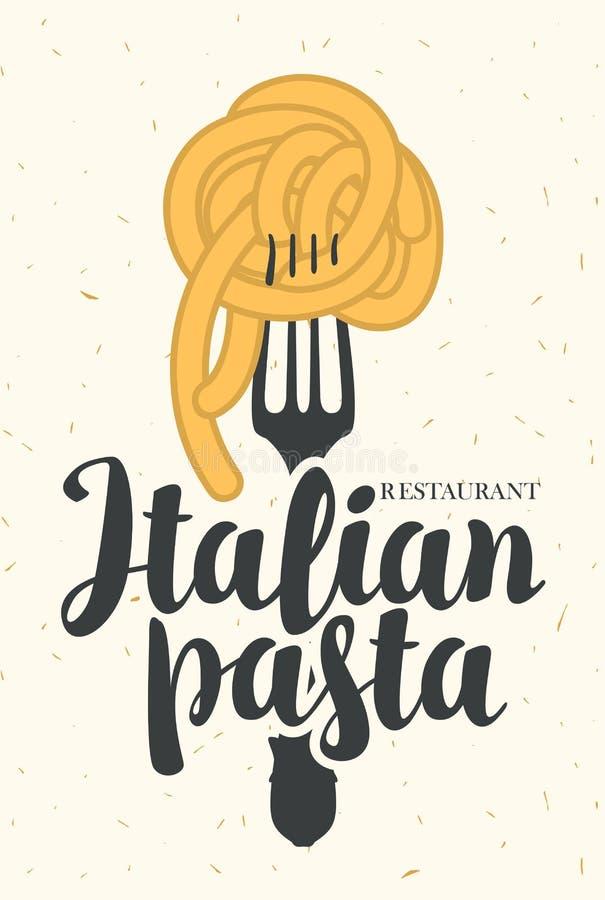 Bannière de vecteur avec les pâtes italiennes sur la fourchette illustration stock