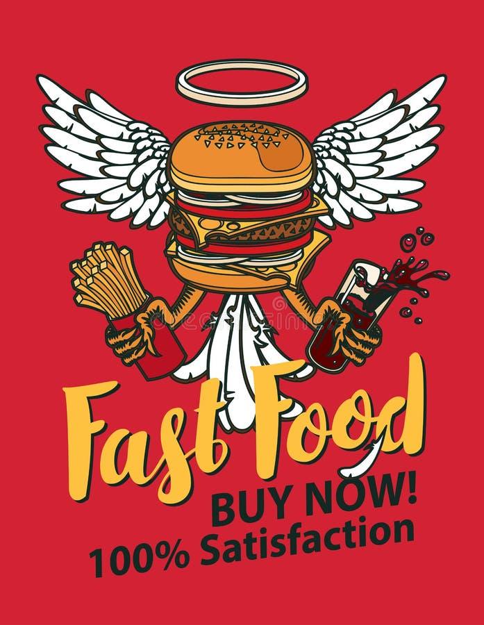 Bannière de vecteur avec un hamburger avec des ailes illustration de vecteur