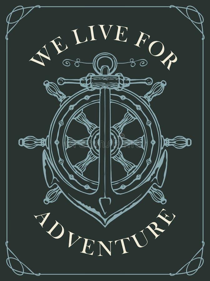 Bannière de vecteur avec une ancre de bateau et un volant illustration stock