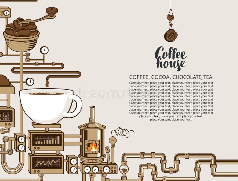 Bannière de vecteur avec une production de café de convoyeur illustration de vecteur