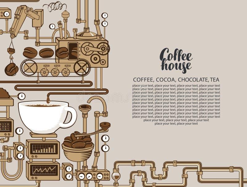 Bannière de vecteur avec une production de café de convoyeur illustration libre de droits