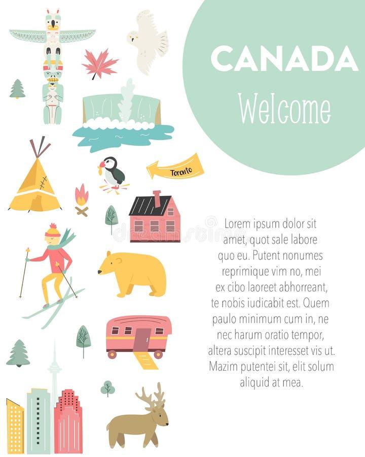 Bannière de vecteur de bande dessinée du Canada Illustration de course illustration de vecteur
