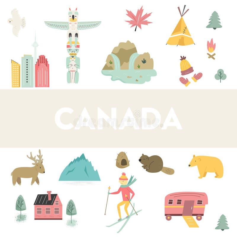 Bannière de vecteur de bande dessinée du Canada Illustration de course illustration libre de droits