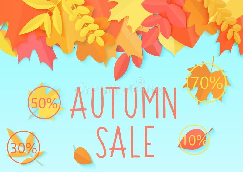 Bannière de vecteur de calibre d'insecte de vente d'automne avec les feuilles et le lettrage d'automne lumineux de couleur de sty illustration libre de droits