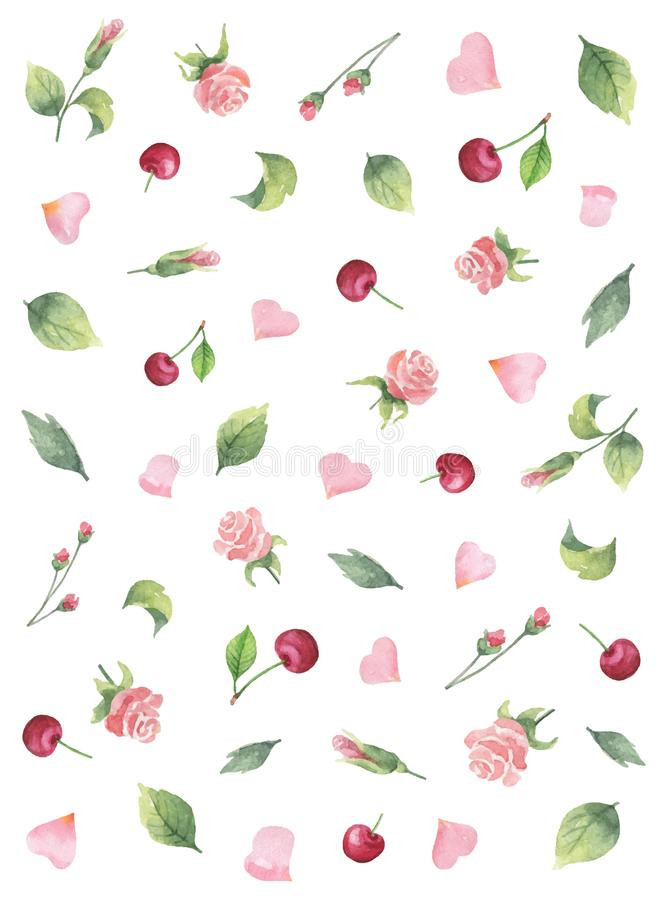 Bannière de vecteur d'aquarelle des feuilles de vert, des roses de fleurs, de la cerise et des coeurs d'isolement sur un fond bla illustration libre de droits