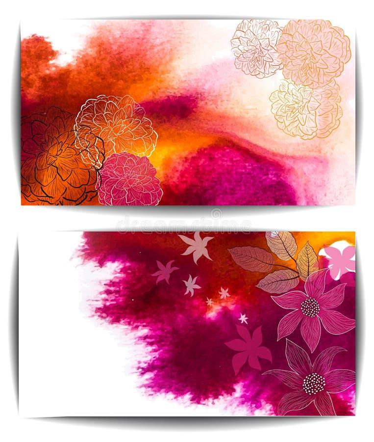 Bannière de vecteur d'aquarelle, fleurs tirées par la main abstraites illustration libre de droits
