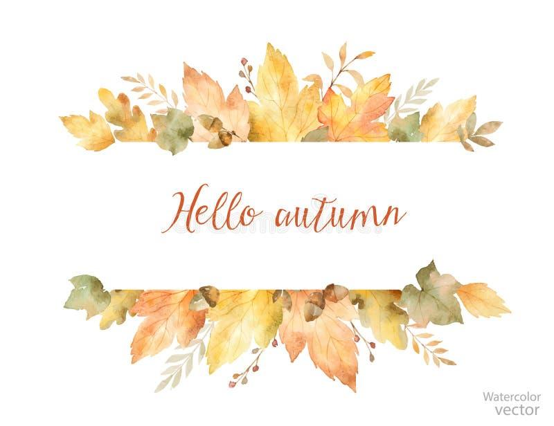 Bannière de vecteur d'automne d'aquarelle des feuilles et des branches d'isolement sur le fond blanc illustration libre de droits