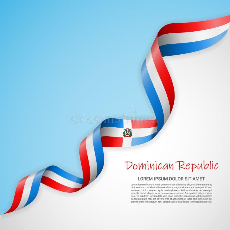 Bannière de vecteur dans les couleurs blanches et bleues et ruban de ondulation avec le drapeau de Dominicanrepublic Calibre pour illustration stock