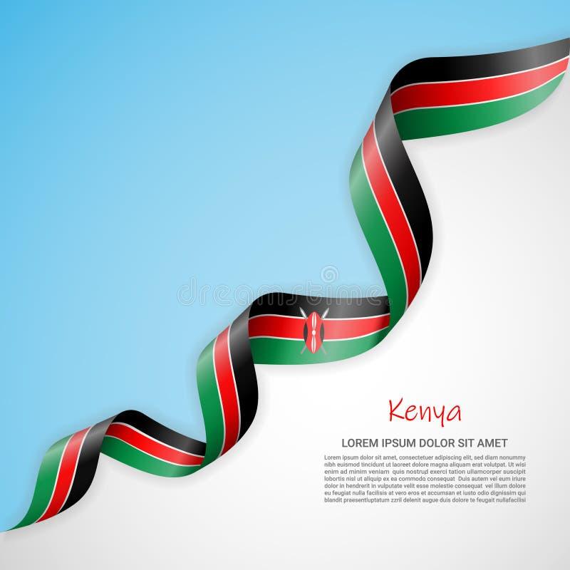 Bannière de vecteur dans les couleurs blanches et bleues et ruban de ondulation avec le drapeau du Kenya Calibre pour la concepti illustration stock