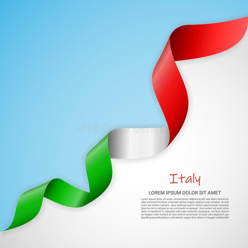 Bannière de vecteur dans les couleurs blanches et bleues et ruban de ondulation avec le drapeau de l'Italie Calibre pour la conce illustration stock