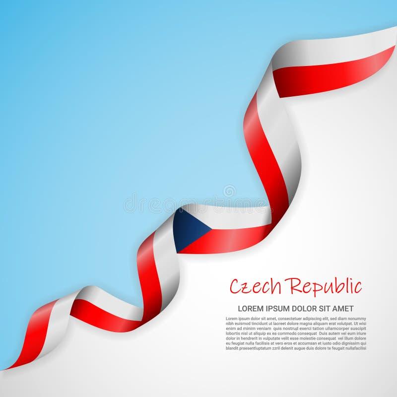 Banni?re de vecteur dans les couleurs blanches et bleues et ruban de ondulation avec le drapeau de la R?publique Tch?que Calibre  illustration libre de droits