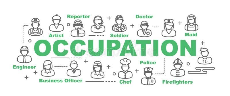 Bannière de vecteur de profession illustration de vecteur