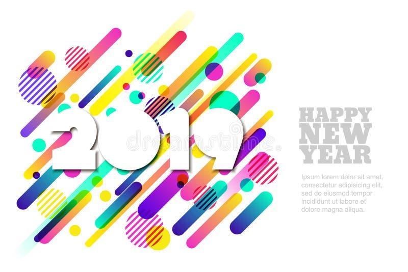 Bannière de vecteur de la bonne année 2019 ou carte de voeux horizontale de papier Nombres de coupe de livre blanc illustration de vecteur