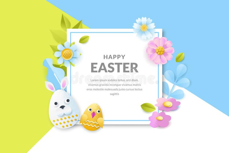Bannière de vecteur de Pâques, affiche Fond de vacances avec des oeufs de coupe du papier 3d, fleurs, feuilles Design de carte cr illustration libre de droits