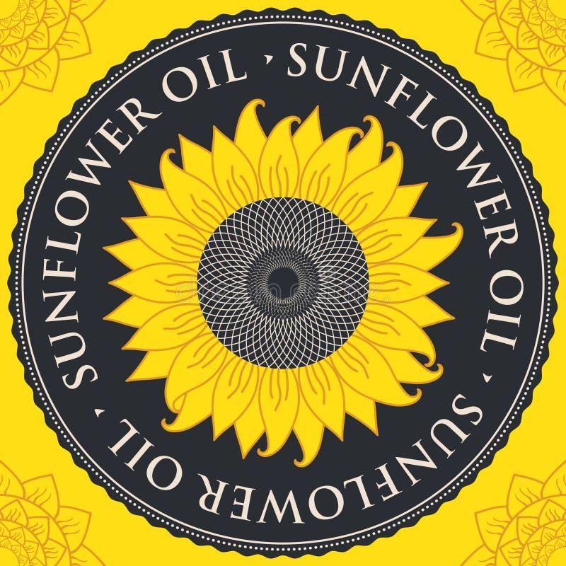 Bannière de vecteur pour l'huile de tournesol avec le tournesol illustration stock