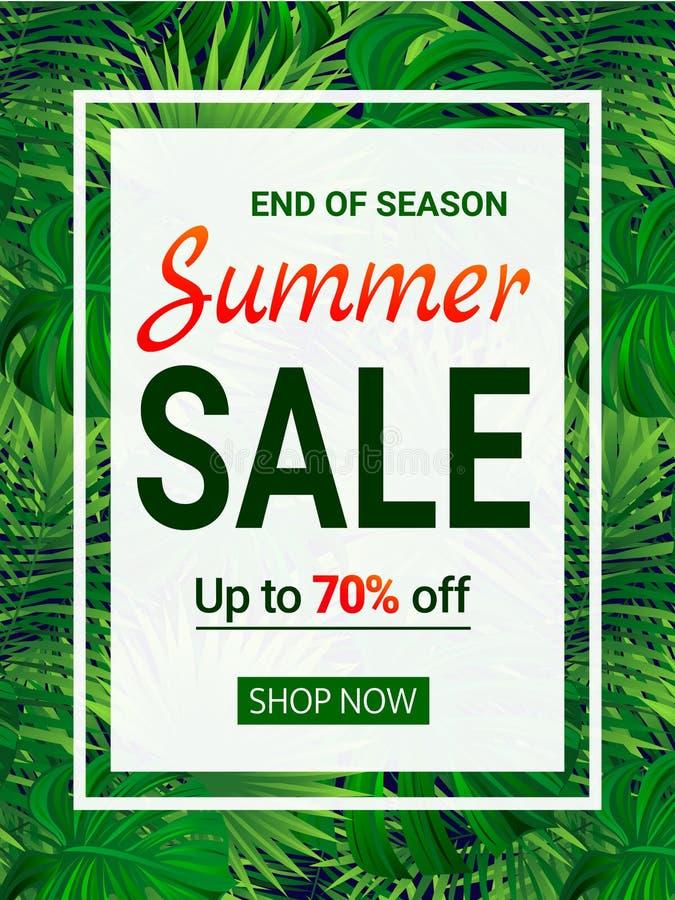Bannière de vente avec le texte Extrémité d'une affiche de remise de saison Bon d'offre spéciale la publicité saisonnière de prom illustration stock