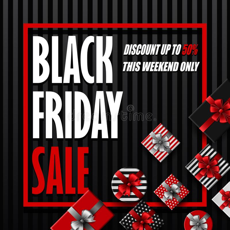 Bannière de vente de Black Friday avec différents boîte-cadeau sur le fond rayé noir illustration de vecteur