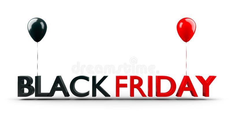 Bannière de vente de Black Friday avec les ballons brillants d'isolement sur le fond blanc, 3D-Illustration illustration stock