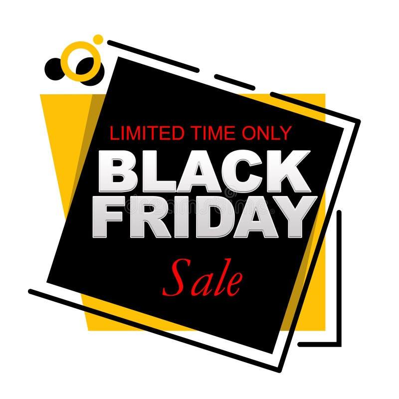 Bannière de vente de Black Friday de temps limité seulement illustration stock