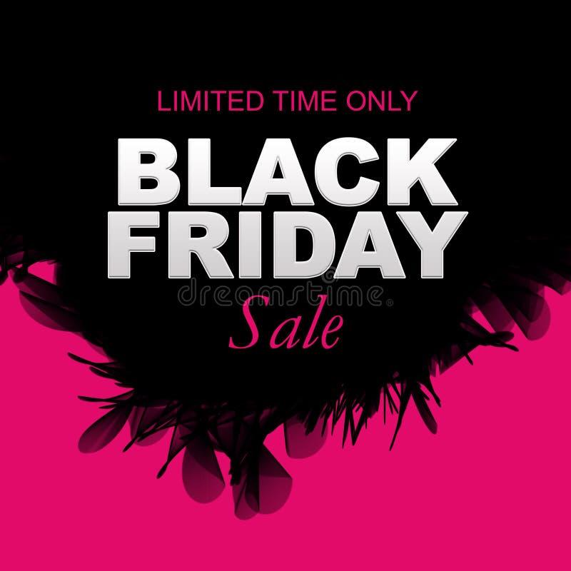 Bannière de vente de Black Friday de temps limité seulement, rose, noir et blanc illustration libre de droits