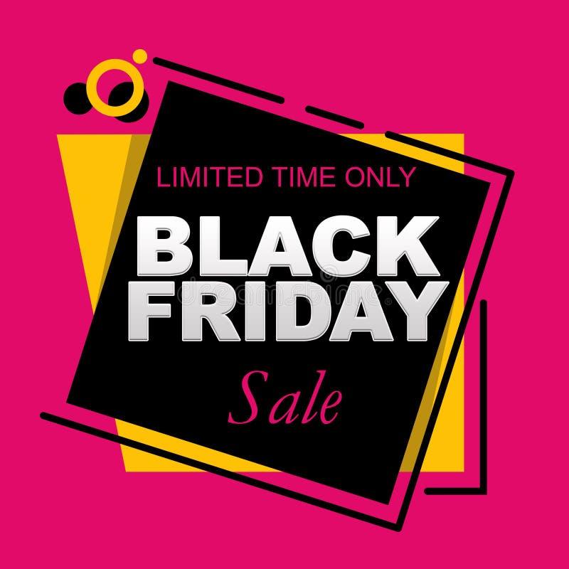Bannière de vente de Black Friday de temps limité seulement sur un fond géométrique illustration libre de droits